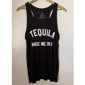 Tequila Made Me Do It Black Tank Top
